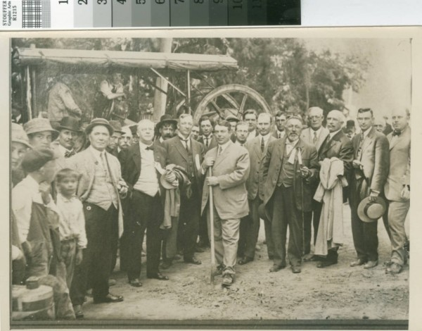 Groundbreaking on El Camino Real in San Bruno in 1912.